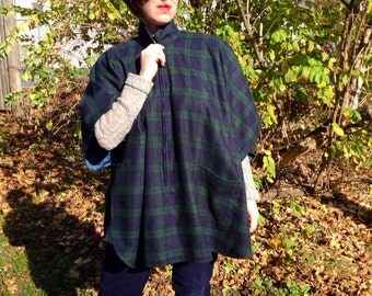 Plaid Blue Green Flannel Poncho Cape