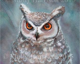 Great Horned Owl -  Wildlife Watercolor Fine Art Print by Molly Harrison 8 x 10
