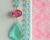 Pink Rhinestone Seafoam Green Chandelier Necklace Aqua Blue Rosary Necklace