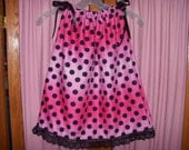 Pink & Black Polka Dot Print Toddler Dress or Girl's Tunic Top ONE SIZE Fits All from 18 months to girl's 10