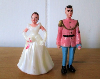 vintage plastic prince and princess cake topper