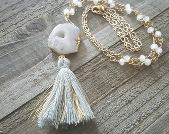 Light Pink Agate and Gray Gold Tassel Beaded Necklace, Geode White Beaded Necklace