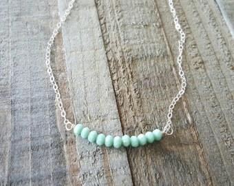 Mint Bar Necklace, Bar Necklace, Sterling Silver Necklace, Minimalist Necklace