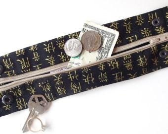 Money Wrist  Cuff  Secret Stash - Golden China - NEW- - hide your cash, key, jewels, health info ,  in a hidden inside zipper...