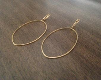 Lightweight Brass Modern pointy oval Shaped Drop Earrings - Statement Earrings - minimalist Earrings - brass hoops - statement earrings
