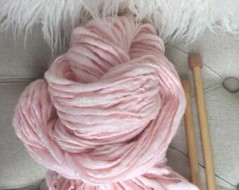 Handspun Yarn, Thick n Thin, Craft Supplies, -BABY GIRL PINK -bulky, merino bamboo, crochet,weaving, knitting supplies,doll hair 87yds