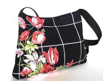 Casual crossbody bag , Vegan black hobo bag, Black school bag, Women side tote purse, Floral tote purse, Cross over bag, Shop Canada , sisoi