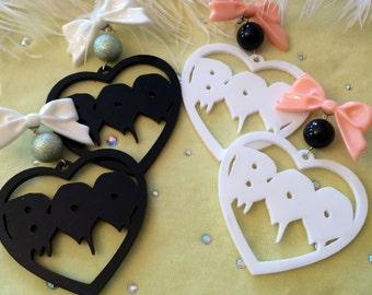 BOO Acrylic Heart Earrings in White or Black