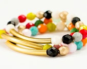 Colorful Adjustable Bead Bracelet Set, Colorful Bead Stretch Bracelet, Brass Tube Bracelet