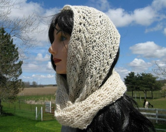 Knit Cowl, Infinity Scarf, White Baby Alpaca Cowl for Women, Circle, Loop Scarf