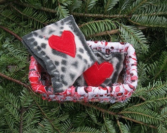 TINDERBOX  little hand coiled holiday BASKET with hand warmers  Number one