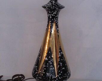 Vintage Atomic Black and White Splatter Lamp with Gold Star