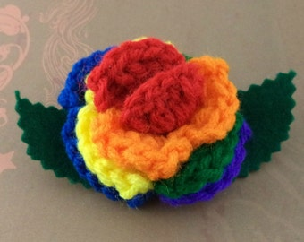 Crocheted Rose Bar Pin - Rainbow (red center) (SWG-PS-RB01)