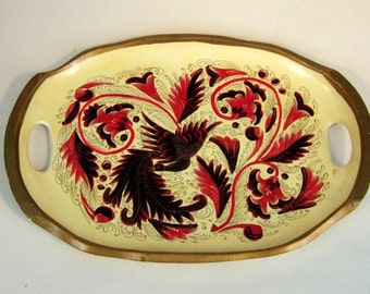 VINTAGE hand painted WOODEN tray of a BIRD