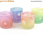 SUMMER SALE Bullseye Sun Lowball Tumblers - Set of 4 - Frosted Style - Etched and Painted Glassware - Custom Made to Order