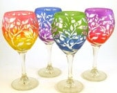 SUMMER SALE Tree of Life Wine Glass Set - Teardrop Style - Etched and Painted Glassware - Wedding and Anniversary Toasting Glasses