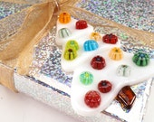 """Modern glass christmas tree  2 x 3"""" fused glass, gift decoration"""