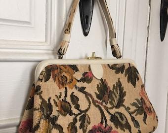 Vintage 1950s tapestry floral carpet bag purse