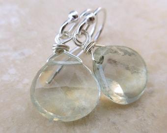 Pale Green Amethyst Briolette Earrings