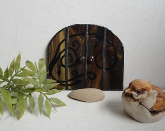 SALE, Fairy Door, Garden Sculpture, Outdoor Garden Art, Indoor Home Decor, Stained Glass, Fairy Garden, Terrarium Decor, Brown, Portal