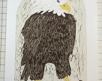 Bald Eagle original block print