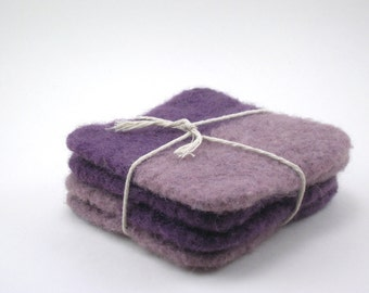 Wool felted coasters - square coaster set - violet and wisteria