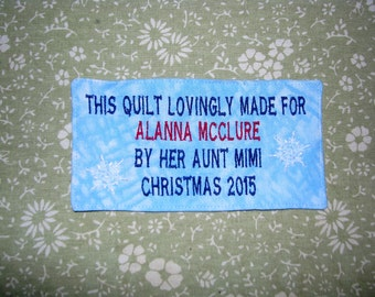 Personalized Custom Embroidered Label.  For Memory Quilts and More.