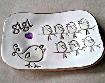 GIGI Trinket  Dish 7 birdies edged in gold  Mothers day