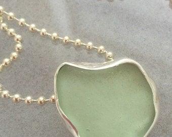Rustic Aqua Soft Green Seafoam Seaglass Heart Silver Pendant Necklace