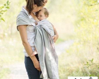 Sewfunky Designer Adjustable Baby Sling certified organic cotton Silverbirch on Grey