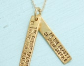 Inspirational quote - Eleanor ROOSEVELT quote about BELIEVING in your DREAMS - handmade 14kt gold necklace by Chocolate and Steel