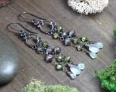 Peridot Chandelier Earrings Prehnite Chalcedony Gemstone Long Wire Wrapped Antiqued Silver Earrings Boho Rustic