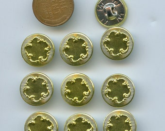 Set of 10 Matching Metallic Bright Gold Colored Metal Buttons 5/8 inch size Rococo Design 2264