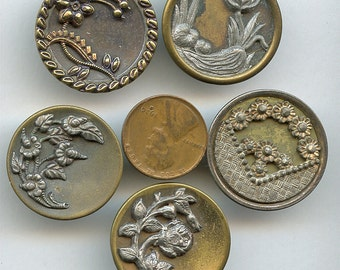 "HUGE Victorian Metal FLORAL Buttons (5) Coordinating Lot Antique Picture Large Flowers 1  1/16""  inch size 2406"