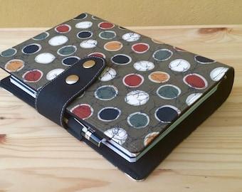 Pre-order A5 Fabric Fauxdori Travelers Notebook polkadot Fabric   internal pockets, secretary's pocket pen loop snap closer