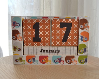Perpetual Wooden Block Calendar - Are You Ready for Some Football - Sports