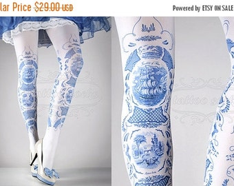 15%SALE/endsAUG30/ Tattoo Tights -  China Doll one size blue and white full length printed tights, pantyhose, nylons by tattoosocks