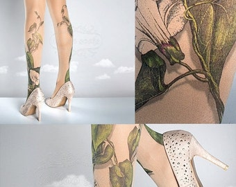 15%SALE/endsAUG30/ Tattoo Tights -  Climber Plant nude one size full length closed toe pantyhose tattoo socks ,printed tights
