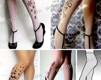 Sale/15%Off/EndsSep30/ SPECIAL SUPER SAVER Pack 4 pairs of  Full  Lengh  ttattoo  nylons