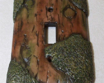 ON SALE: was 11.95 Tree Bark and moss light switch cover single toggle, style B