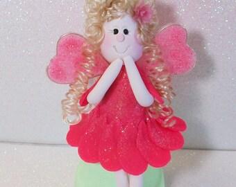 Hot pink glitter Fairy figurine with a petal pink dress: miniatures Fairy Gardens
