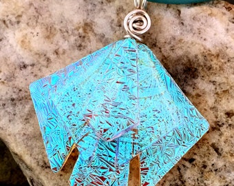 "Stunning Translucent Teal Unique 3D Dichroic Glass Pendant with Adjustable 16"" - 18.5"" Green Necklace"