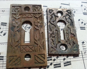 Two Antique Eastlake Keyholes, Escutcheons. Steampunk. Jewelry Supplies. Shabby.