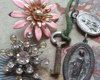 Shabby Junk Drawer Jewelry ... Religion Key Flower Rhinestones ... Repurpose