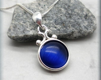 Blue Cats Eye Necklace, Cabochon Necklace, Sterling Silver, Fiber Optic, Glass Pendant, Royal Blue Necklace, Everyday, Minimalist (SN924)