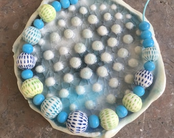 Blues and greens handmade porcelain bead necklace -sale