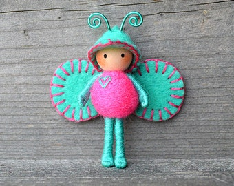 Love Bug bendy doll Turquoise - Pink