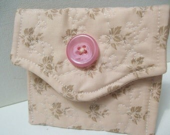 Quilted Little Case, Rosary Case, Card Case, Pouch, Gift case, pink, organizer, wedding bridal, First Communion, Catholic gift
