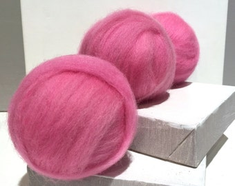 Pink Wool Roving, Needle Felting wool, Spinning Fiber *Dyed to Order* w 3 free samples, bright pink felting wool, pink roving