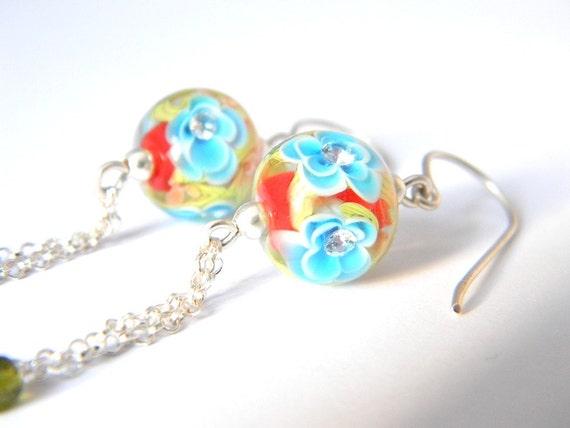 Poppy Sakura Long Earrings - Lampwork Glass and Sterling Silver